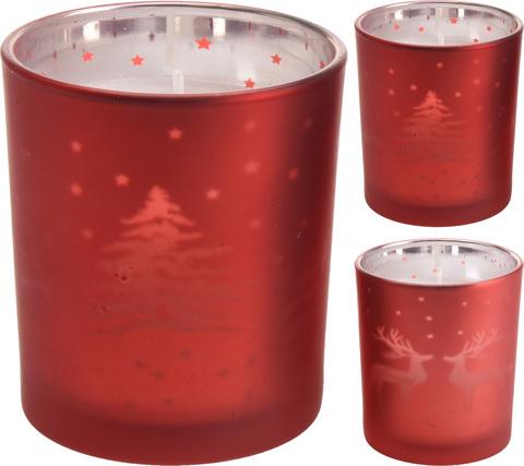 Свеча в стакане красномс рисунком в асс. 6.5х8см