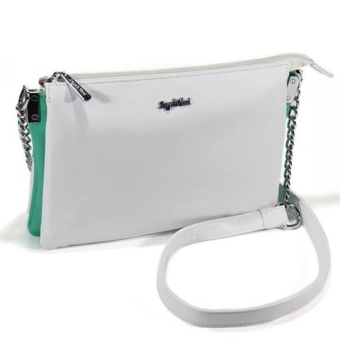 Белая сумка с цветной вставкой
