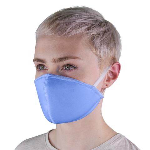 Маска защитная тканевая многоразовая, голубая (с резинками)