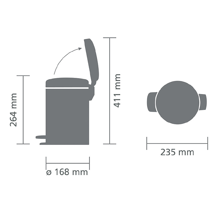 Мусорный бак newIcon (3 л), Пламенно-красный, арт. 112140 - фото 1
