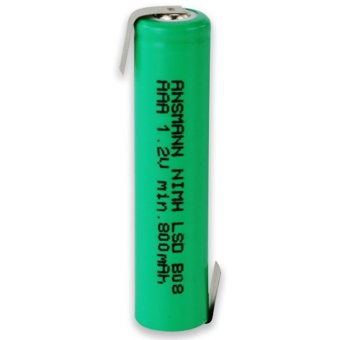 Аккумулятор ААА/NiMH ANSMANN 1.2V 900mAh с контактами