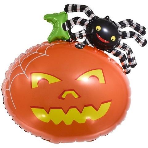 Воздушный шар фигура Тыква с пауком, 66 см