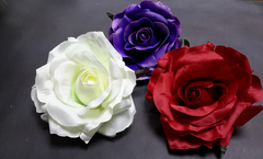 Голова розы чайной 16 см, толстый сатин 11 слоев, 1 шт.