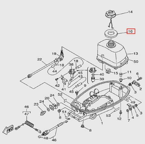 Прокладка крышки бака для лодочного мотора T5 Sea-PRO (7-16)