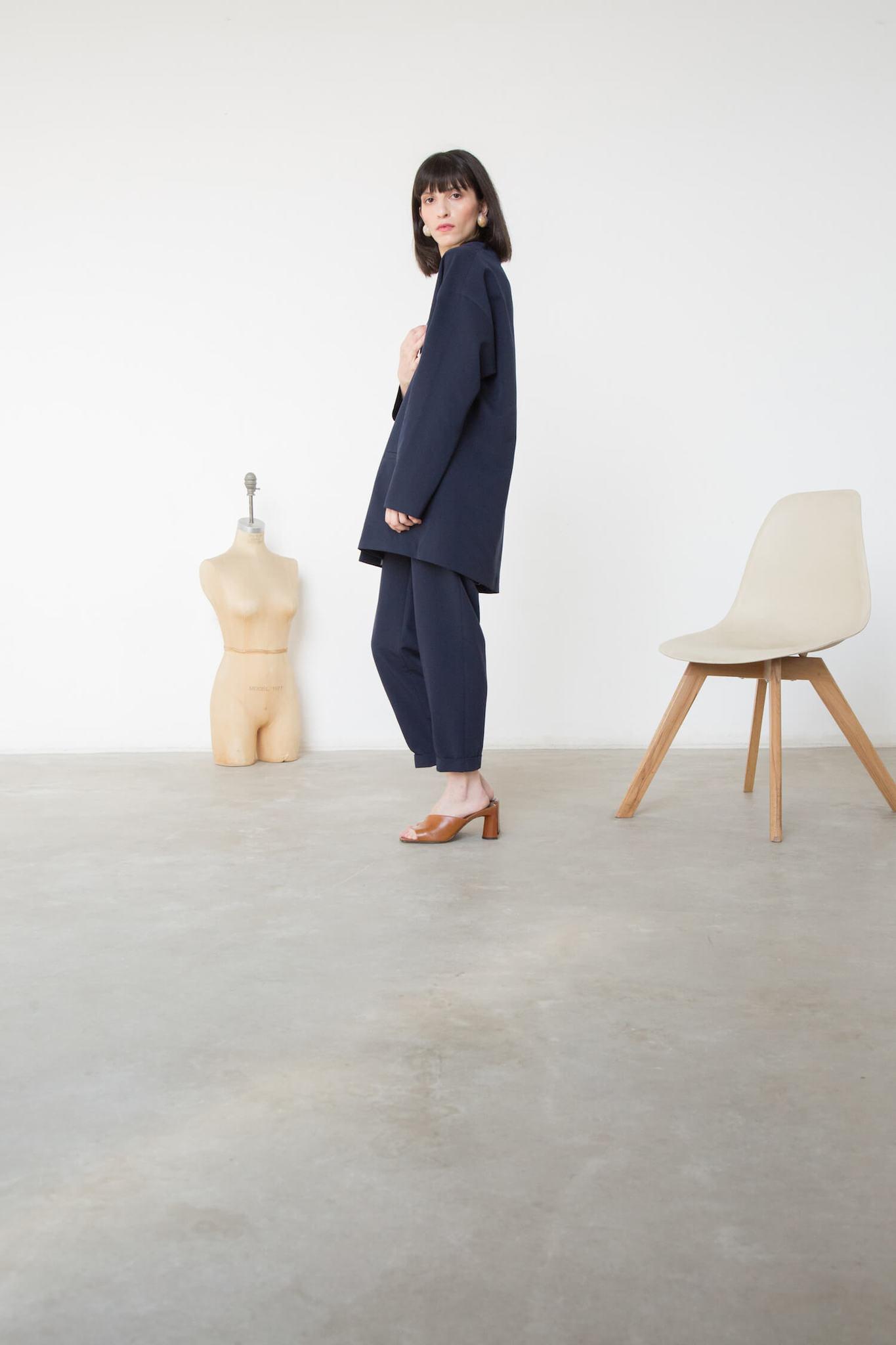 Жакет-планка со спущенным плечом, синий