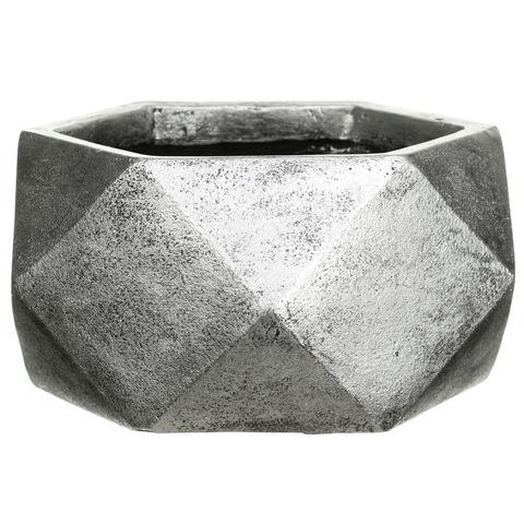 DBOWL30-SLV Кашпо Геометри Чаша, файберстоун, серебро, W30 L30 H15 cm