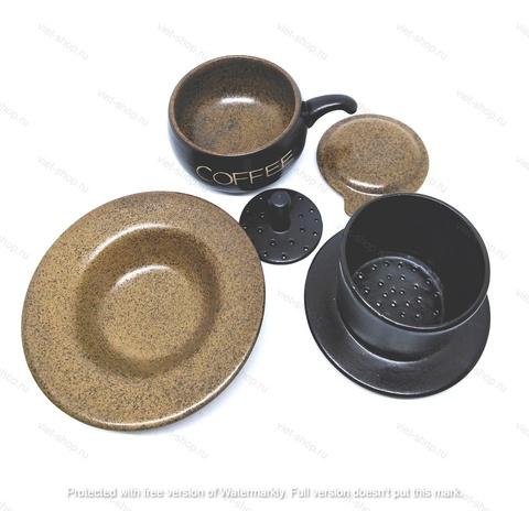 Кофейный набор посуды (пресс-фильтр, чашка, блюдце), бежевый.