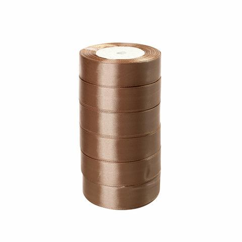 Лента атласная (размер: 10 мм х 50 ярд) Цвет: светло-кофейный