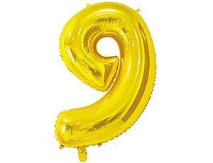 Цифра 9 золотая 65 см