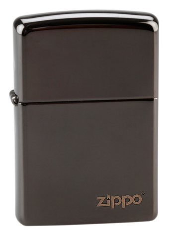 Зажигалка Zippo латунь/сталь, чёрная с фирменным логотипом, глянцевая, 36x12x56 мм