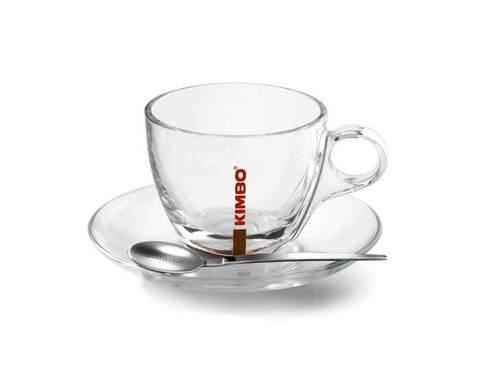 Кофейная пара стеклянная Kimbo для капучино, 150 мл