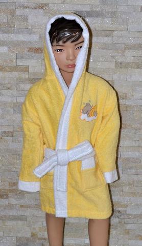 Детский махровый халат с капюшоном La Villa Спящая луна 2 жёлтый