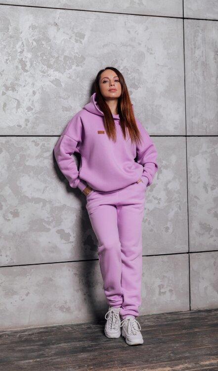 Женские спортивные брюки с флисом лилового цвета
