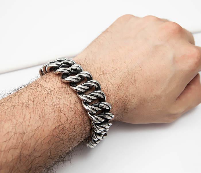 BM505 Тяжелый мужской браслет из стали (21 см) фото 05