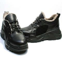 Теплые кроссовки на танкетке зимние женские Studio27 547c All Black.