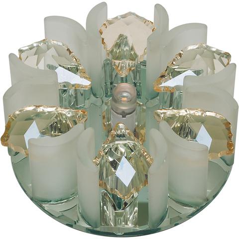 DLS-F120 G4 GLASSY/CLEAR+CHAMPAGNE Светильник декоративный встраиваемый, серия Fiore. Без лампы, цоколь G4. Стекло/стекло. Зеркальный/прозрачный+шампань. ТМ Fametto