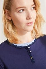 Синя футболка з бавовни з гудзиками і мереживом