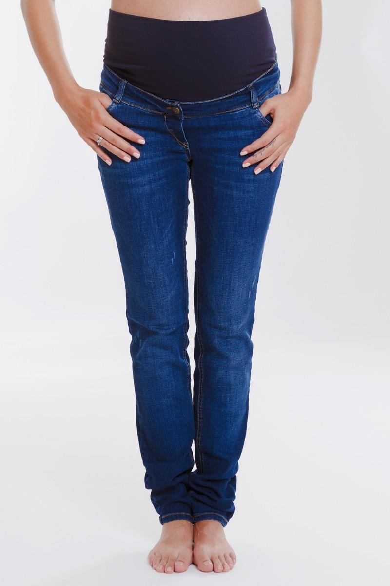Фото джинсы для беременных MAMA`S FANTASY, зауженные, средняя посадка, высокая трикотажная вставка от магазина СкороМам, синий, размеры.