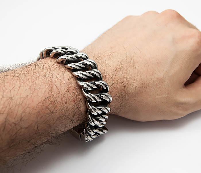 BM505 Тяжелый мужской браслет из стали (21 см) фото 06