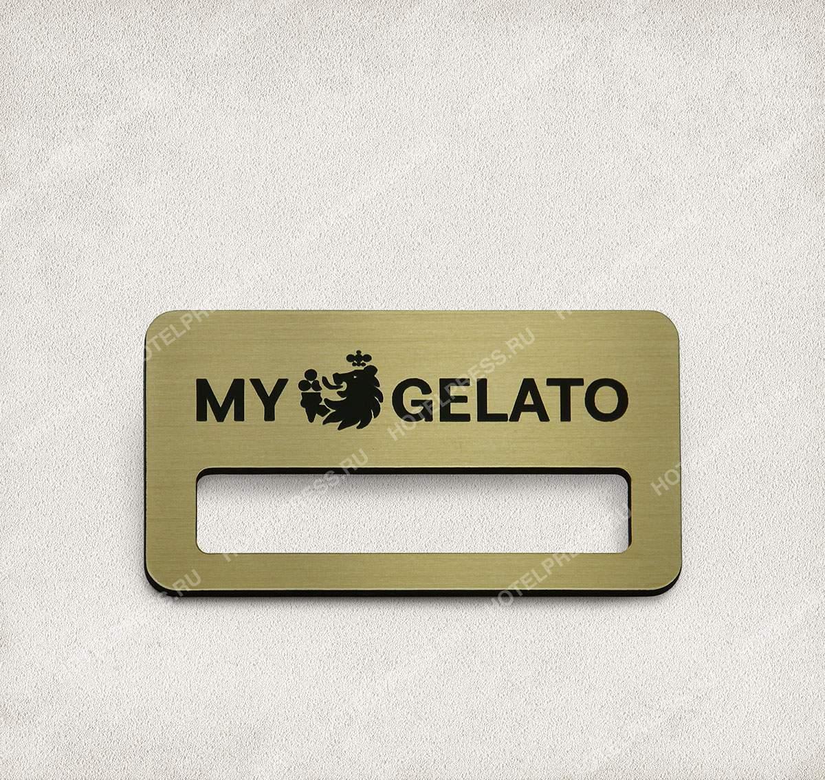 Бейдж из пластика компании MY GELATO