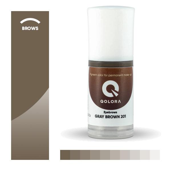 QOLORA GRAY BROWN 201 (СЕРО-КОРИЧНЕВЫЙ) пигмент для татуажа бровей