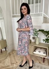 Адель. Вільна сукня з оригінальним рукавом. Сірі квіти