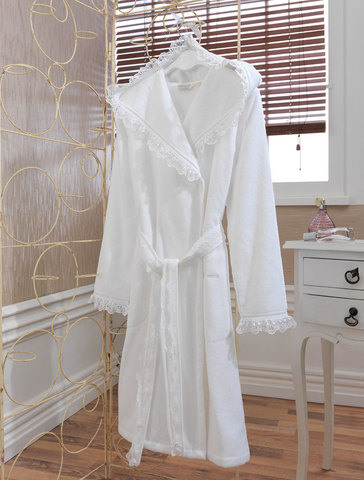 Махровый женский короткий халат LUNA белый