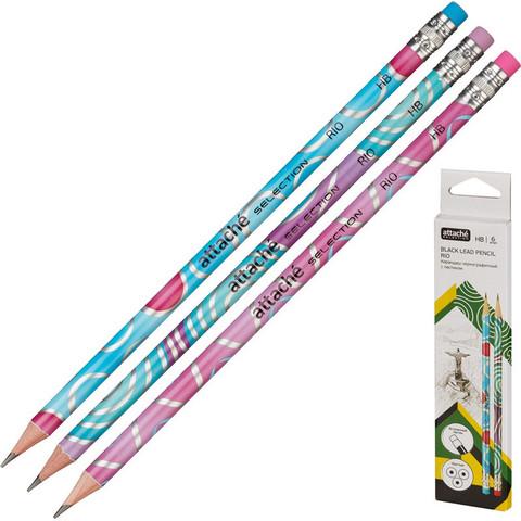 Набор чернографитных карандашей Attache Selection Rio HB заточенный с ластиком (6 штук в упаковке)