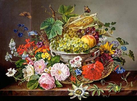 Алмазная Мозаика 40x50 Натюрморт с фруктами и цветами (арт. GA75007 )