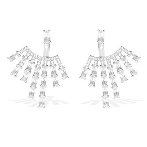 AE97675- Серьги-джекеты  из серебра с цирконами  в  стиле APM MONACO