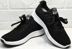 Черные кроссовки сеточка женские Fashion Leisure QQ116.