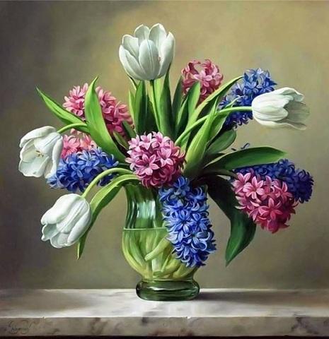 Алмазная Мозаика 40x50 Цветы в прозрачной вазе (арт. S020 )