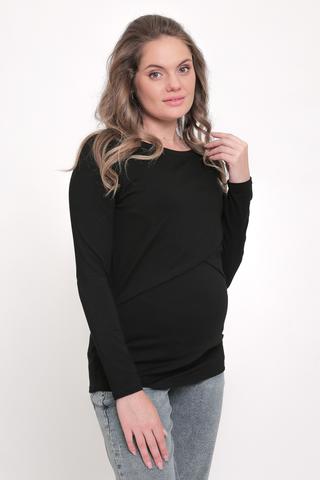 Лонгслив для беременных и кормящих 11917 черный