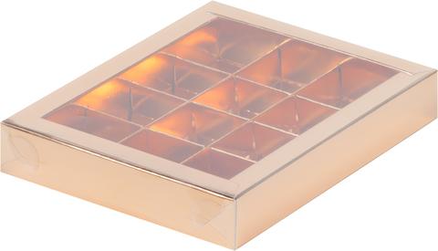 Коробка для 12 конфет с крышкой 19*15*3см, золото