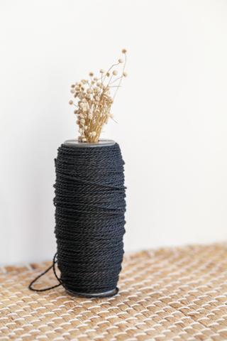 Черный льняной витой шнур 1,5 мм