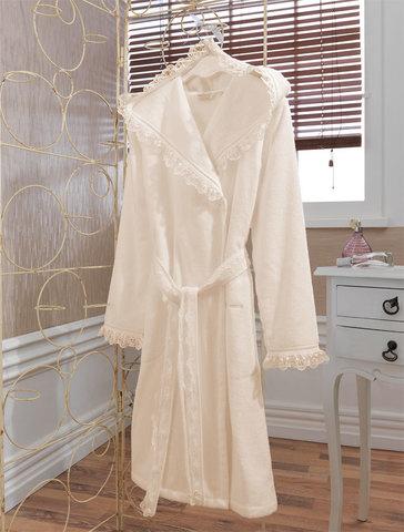 Женский короткий махровый халат LUNA экрю