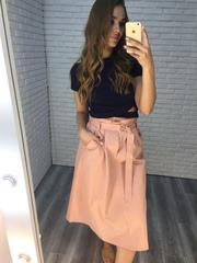 длинная юбка розовая купить