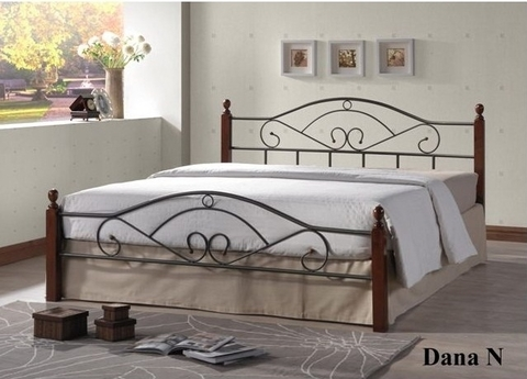 Кровать ДАНА двуспальная металлическая с деревянными ножками 160х200 орех