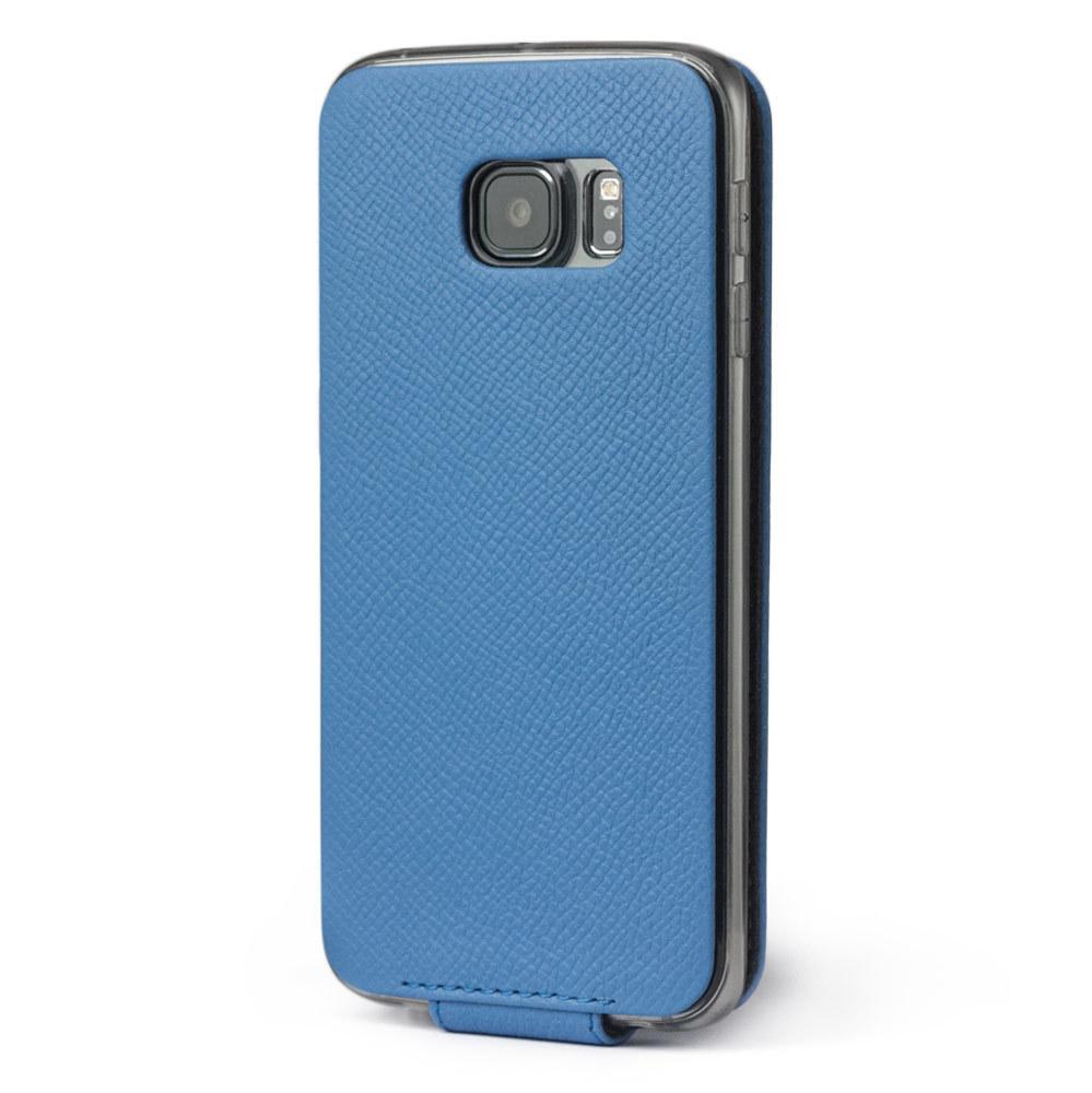 Чехол для Samsung Galaxy S6 edge из натуральной кожи теленка, голубого цвета