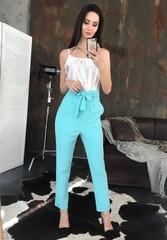 Стильные брюки с высокой талией. Бирюза