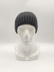 Мужская трикотажная шапка по голове, с отворотом, классика, серая