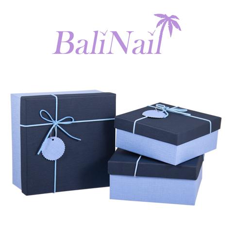 Коробка подарочная квадратная с бантом, 16х16х7,5см, синий/голубой/