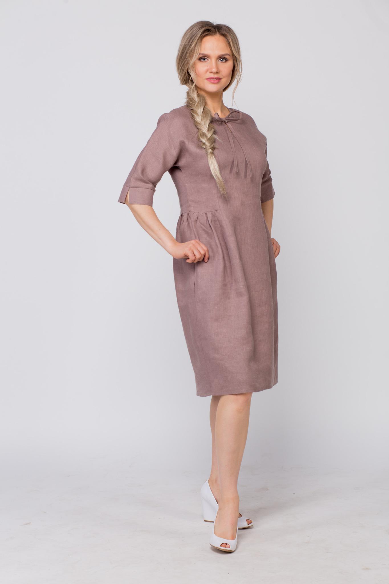 Платье льняное Какао с карманами