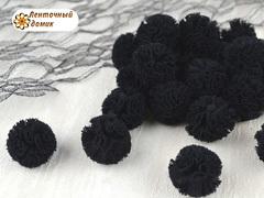 Помпоны из фатина черные 20 мм