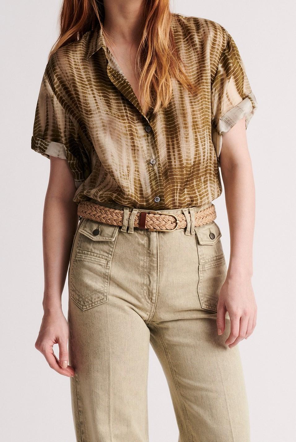 NALINI - шелковая блуза с коротким рукавом и принтом тай-да