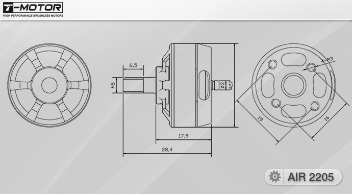 Схема (чертёж) мотора T-Motor AIR2205 KV2000