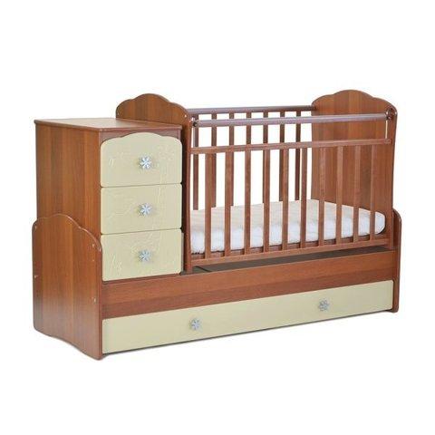 Кровать детская СКВ-9, 4 ящика, маятник, фасад-жираф (орех+бежевый)