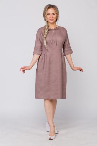 Платье льняное Какао