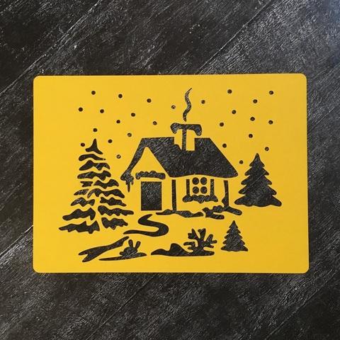 Трафарет новогодний №11 Снежный домик в лесу