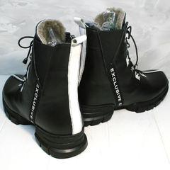 Зимние ботинки женские кожаные с мехом Ripka 3481 Black-White.